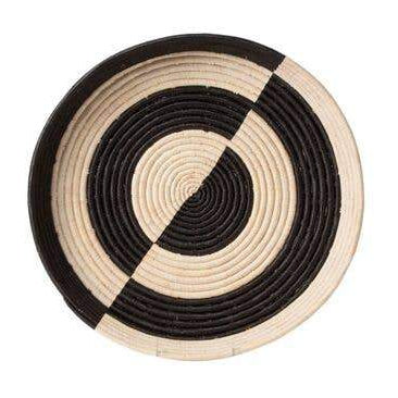 KAZI Mwezi Black and Natural Raffia Tray