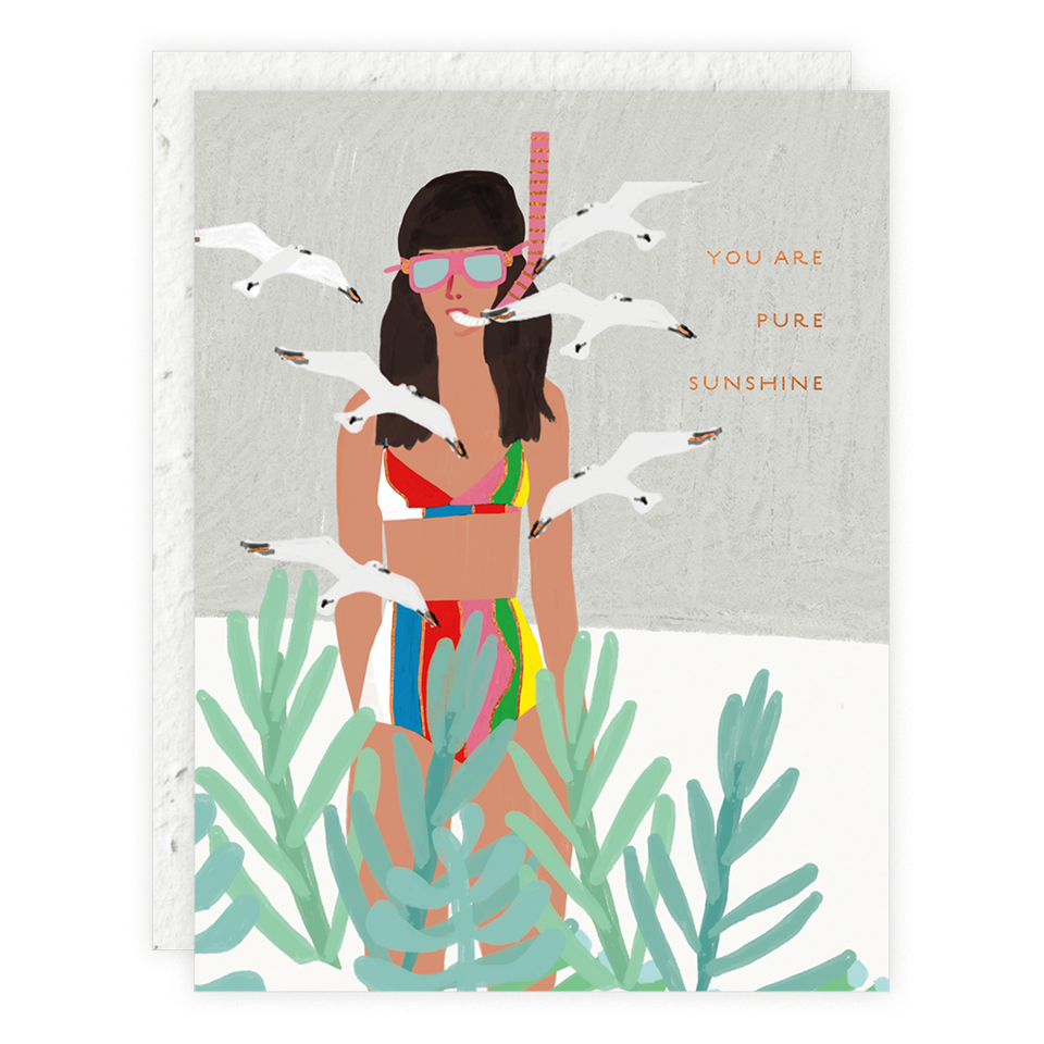 Seedlings Snorkel Woman Card