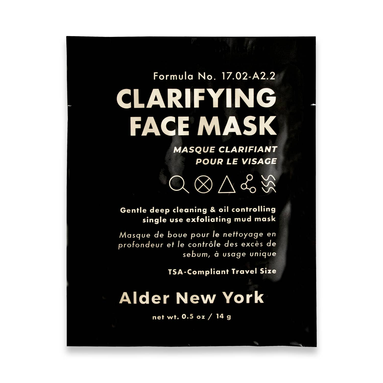 Single use clarifying face mask by Alder new york package