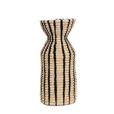 vase made of raffia fiber and sweet grass