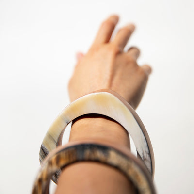 Stacked Wood + Horn Triangle Bangle by Haiti Design Co