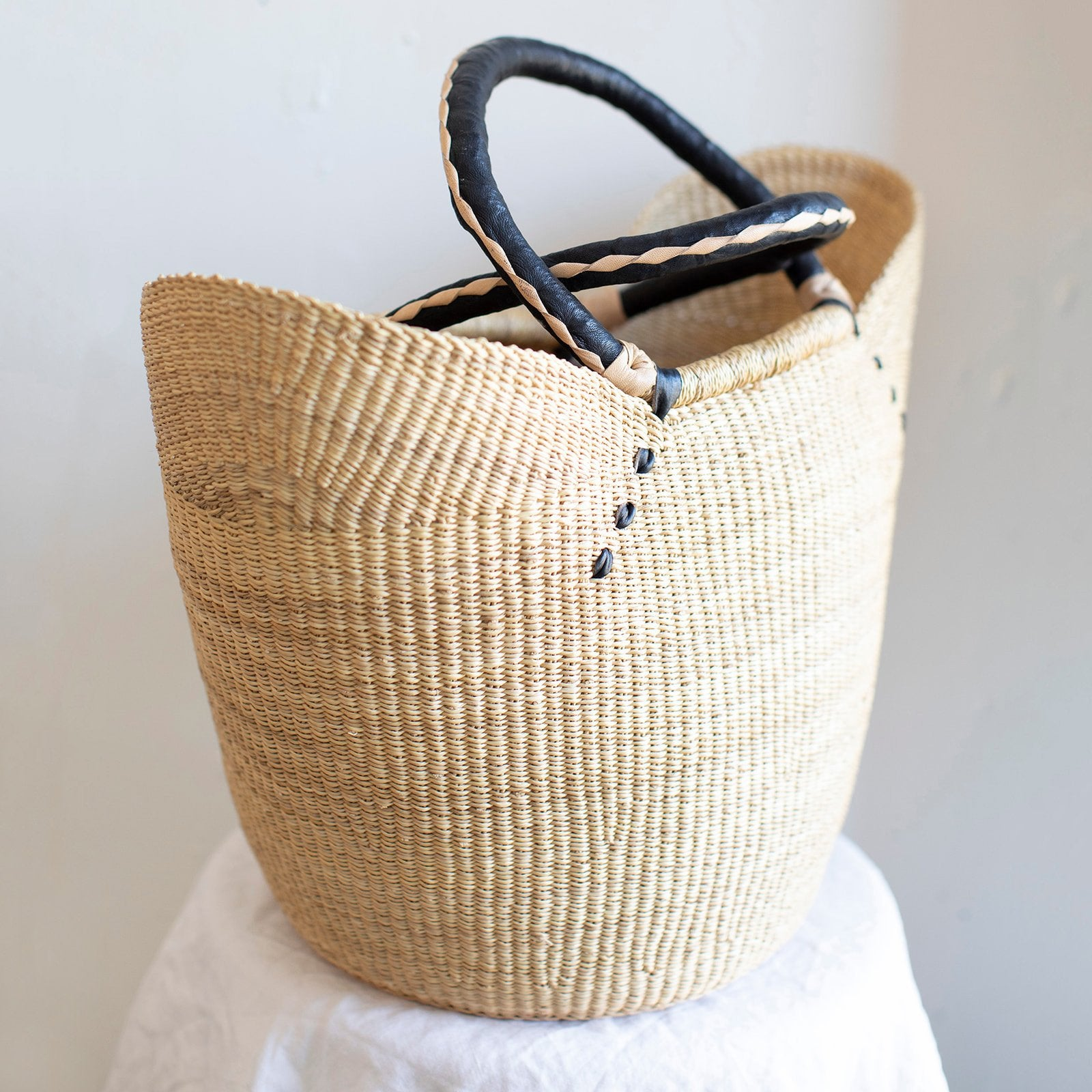 Handwoven market tote ethically made by Amsha in Kenya