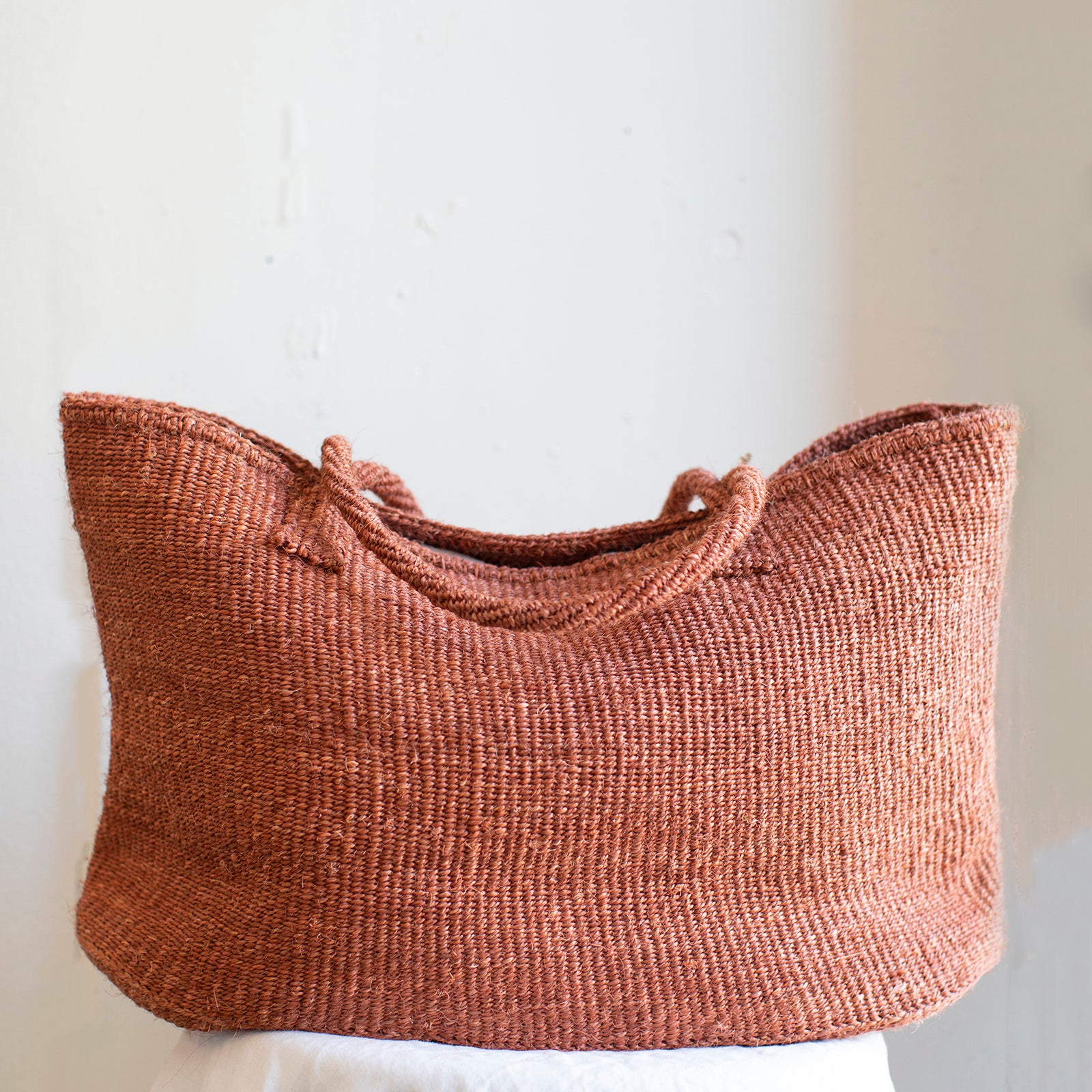 Large sisal tote in canyon ethically handcrafted in Kenya by Amsha