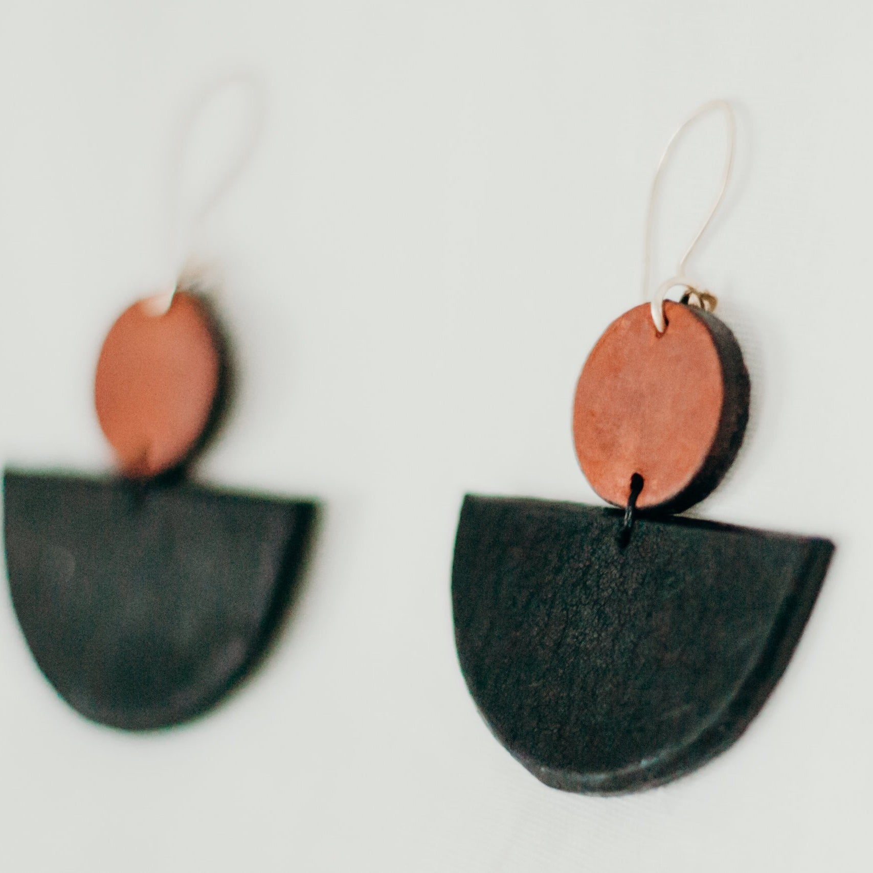black and brown leather earrings with half circle drop