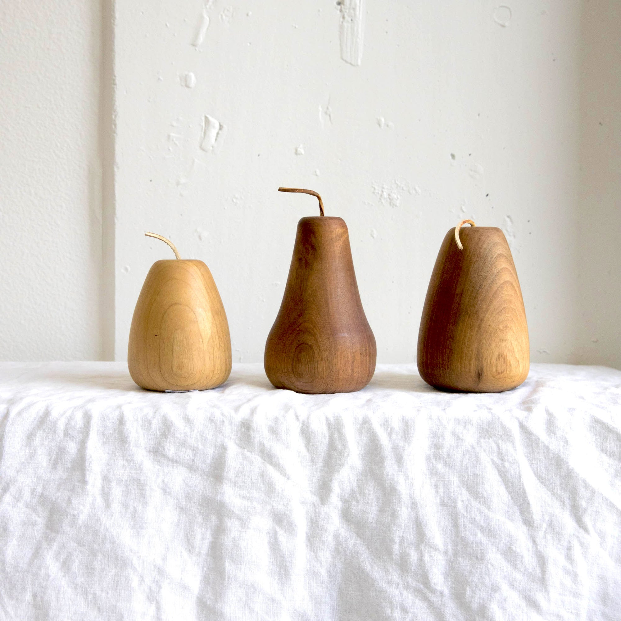 CURA Collection trio of hand turned wooden pears - Found