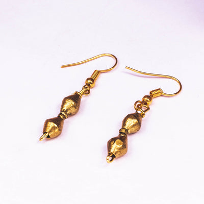 golden bullet bead earrings