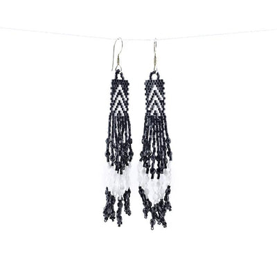 Huichol beaded earrings - small black and white