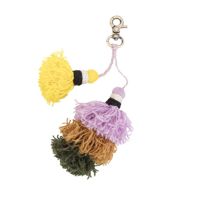 Yellow, lilac, brown, and moss green tassel keychain