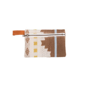 Brown, gold and white patterned coin purse