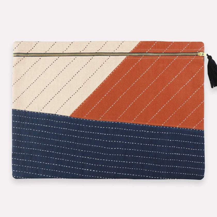 tri-colored (creme, burnt orange, and navy) Large pouch or laptop sleeve