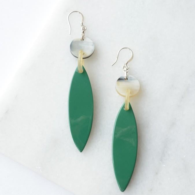Fair Anita - Lotus Leaf Upcycled Horn Earrings