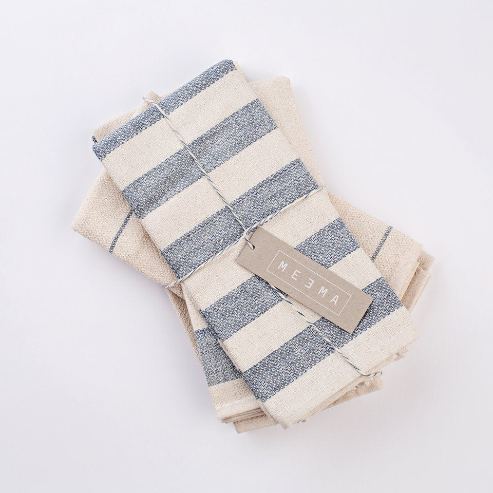 blue and creme striped kitchen towels