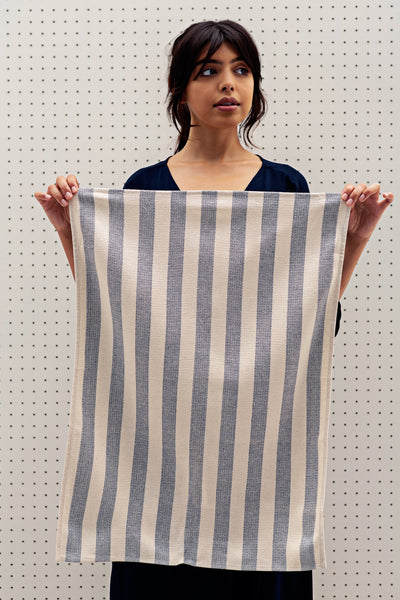 blue and creme striped kitchen towel
