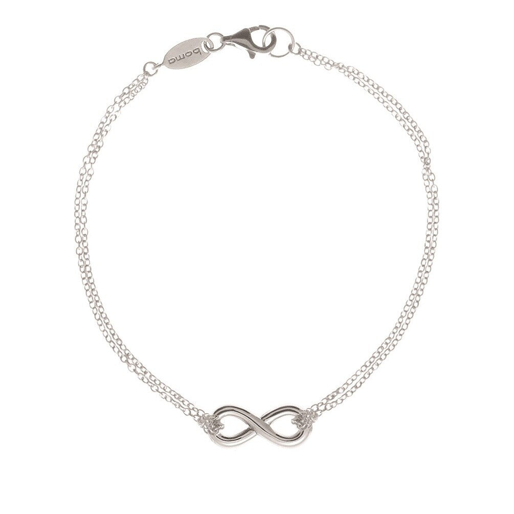 Sterling Silver Double Chain Infinity Bracelet