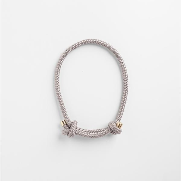 Grey handcrafted climbers rope necklace  with gold caps ethically handmade by Pichulik  in South Africa.