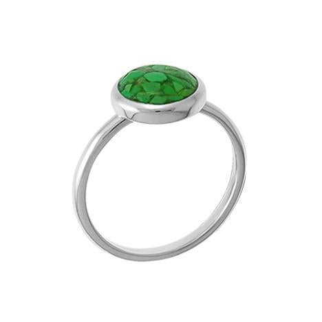 round green turquoise resin ring with sterling silver band
