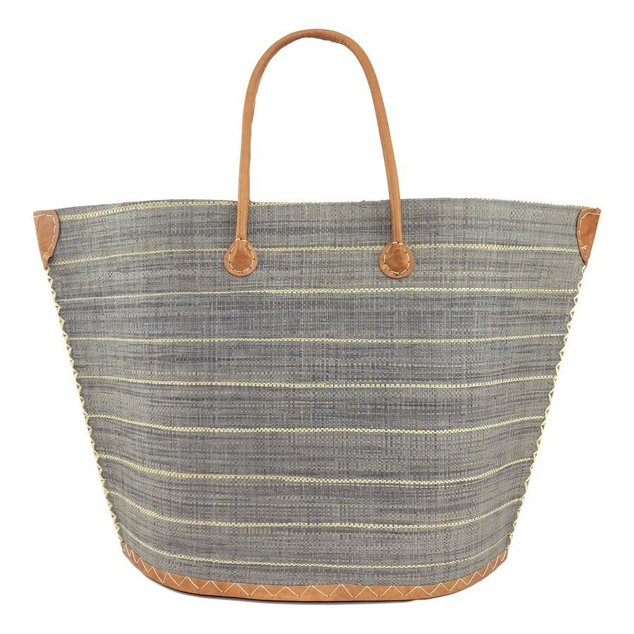Shebobo Santa Cruz Pin Stripes Straw Bag in Grey