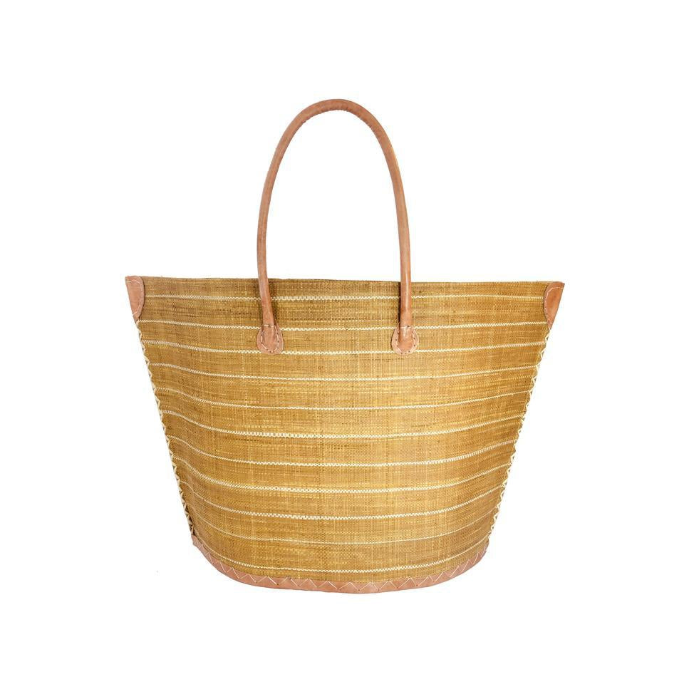 Shebobo Santa Cruz Pin Stripes Raffia Bag in Tobacco