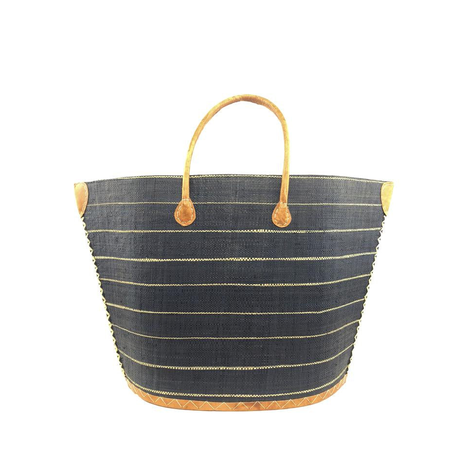 Raffia tote bag in black by Shebobo
