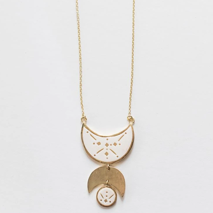 moon necklace made with brass and bone
