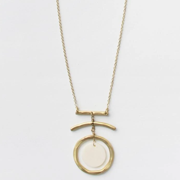 full moon necklace made with brass and bone