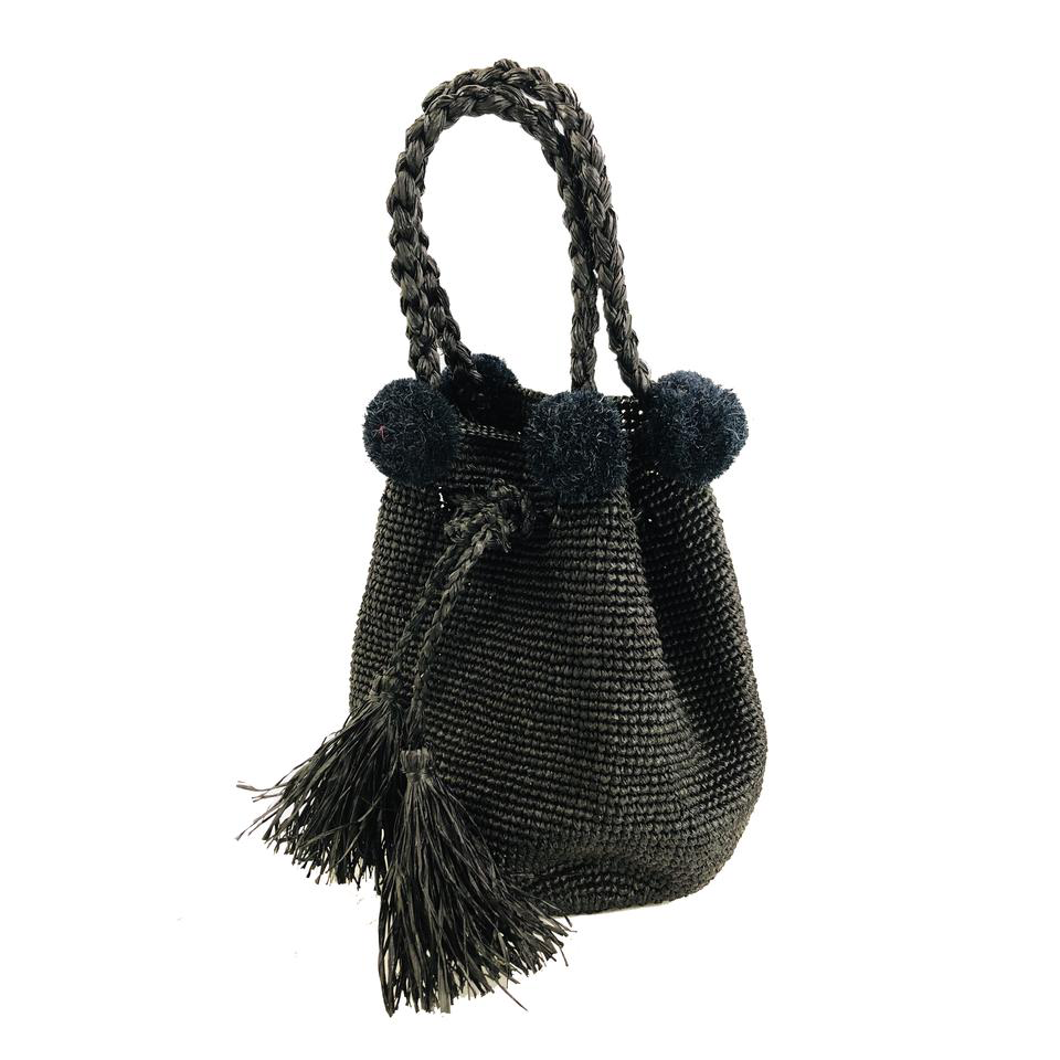 Shebobo Hobo Straw Crochet Handbag in black ethically made in Madagascar