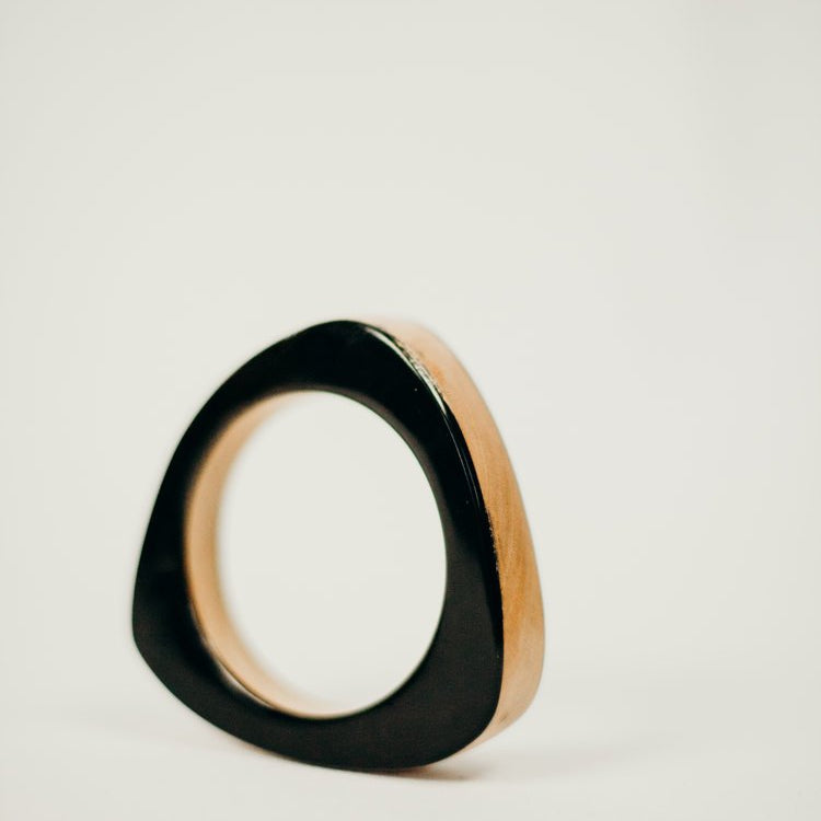 Haiti Design - Stacked Wood + Horn Triangle Bangle