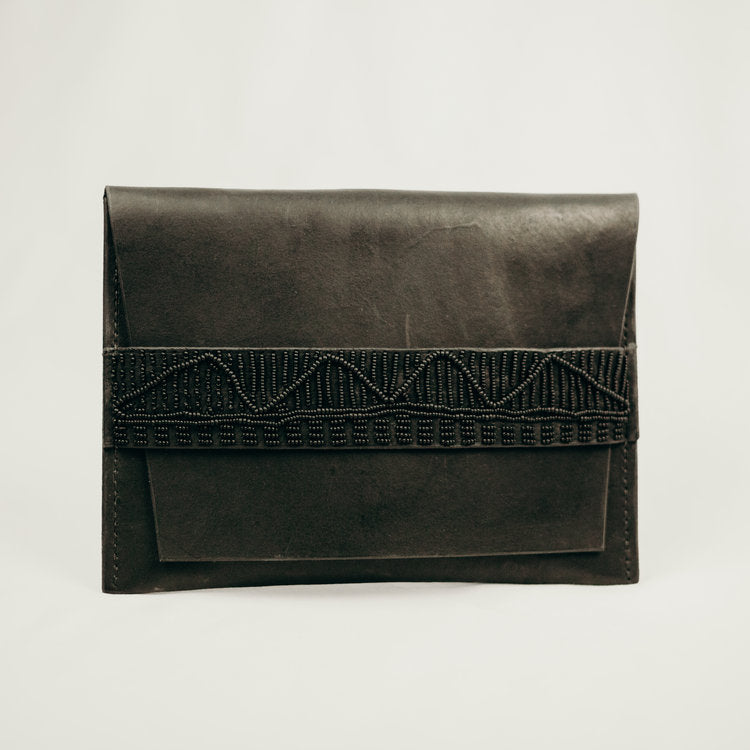 black leather beaded clutch