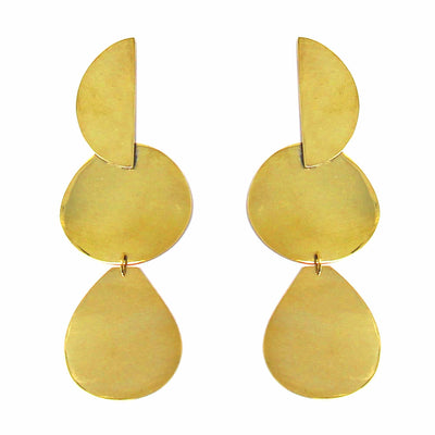 Handcrafted Brass Geometric Dangles- Bawa Hope