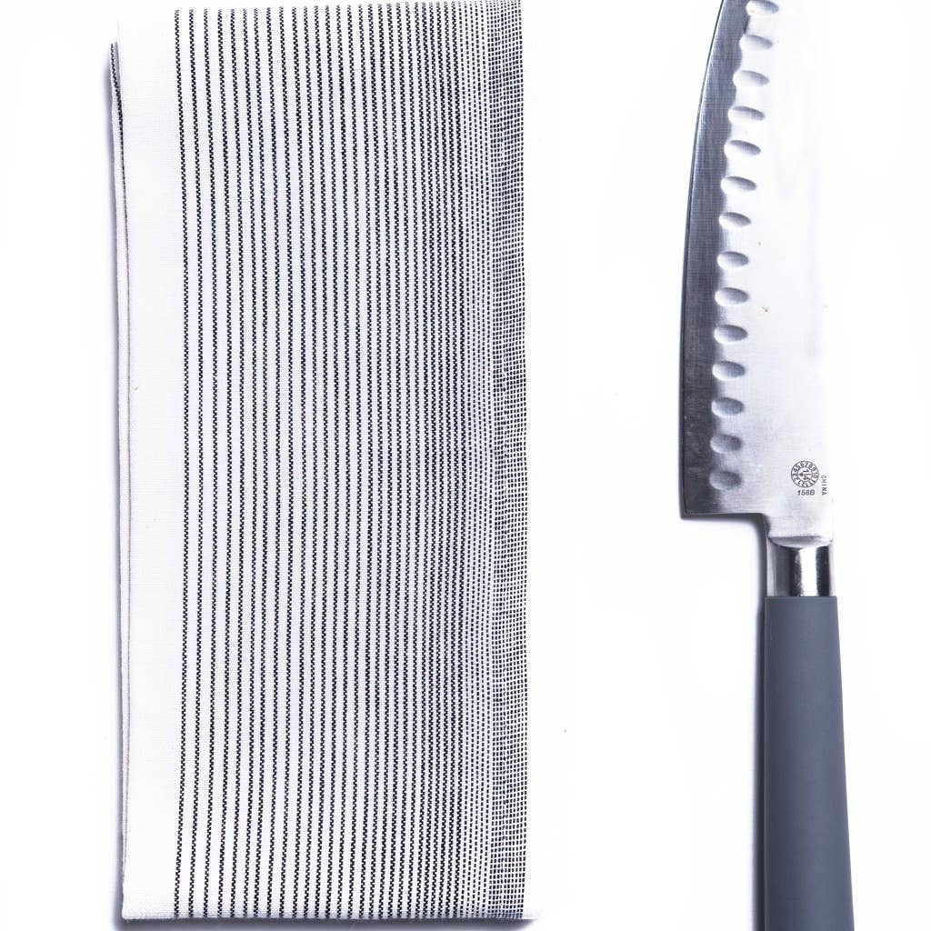Black stripped kitchen towel