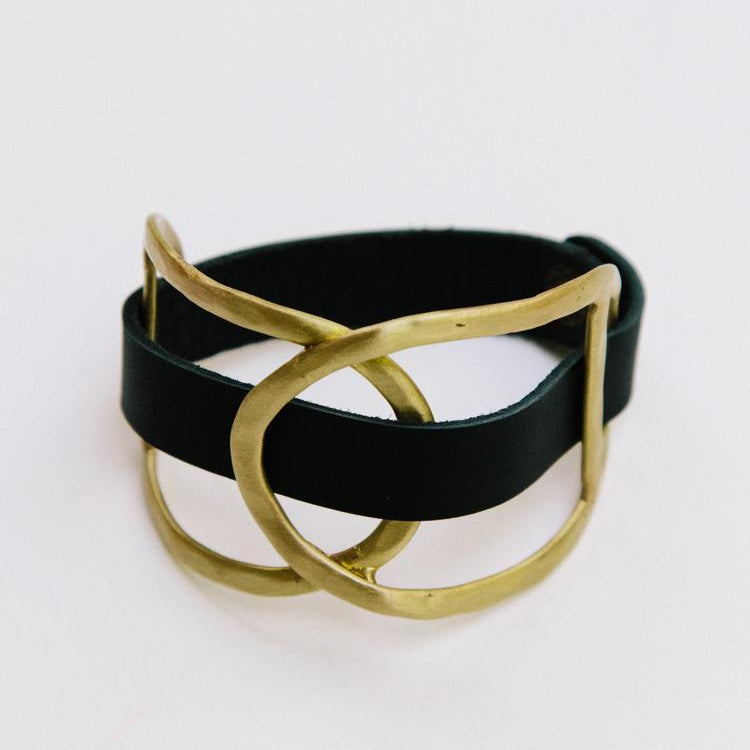 Mata Traders Leather Wrap Cuff Gold
