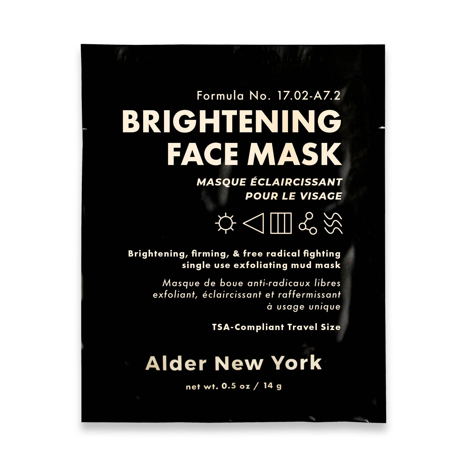 Single use brightening face mask by Alder new york package