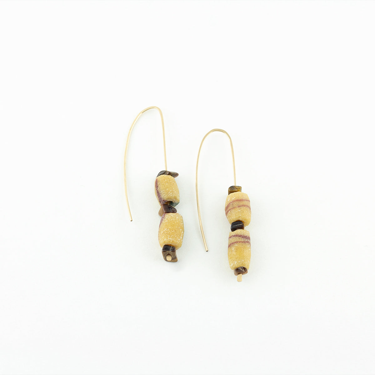 CURA collection - RAI beaded vintage african bead & tigers eye dangle earrings