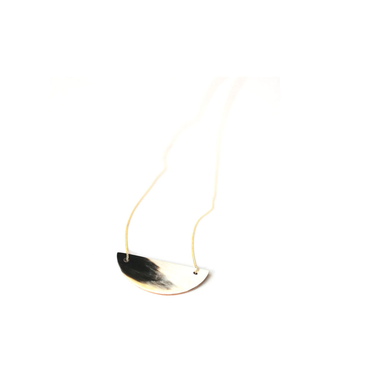 cow and goat horn necklace with gold chain