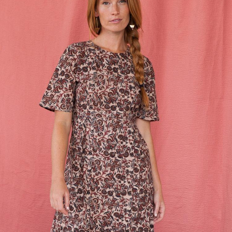handblock print dress on woman