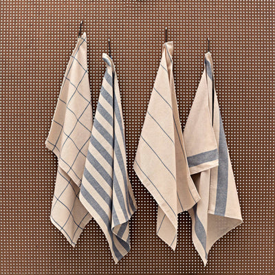 blue and creme striped kitchen towel set of 4