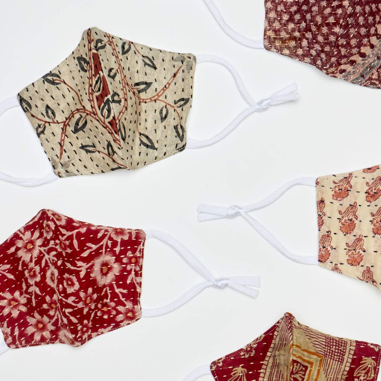 Vintage Kantha Facemasks Warm Colors by Anchal