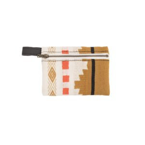 Brown, orange, and white patterned coin purse