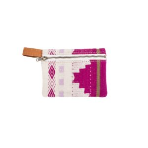 Pink, light purple, and white patterned coin purse