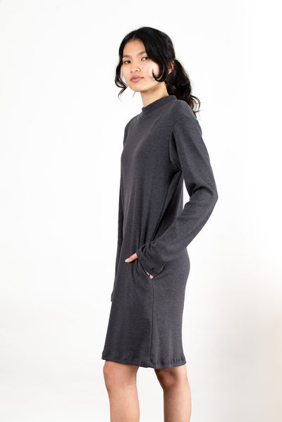 Mock Neck Long Sleeve Dress with pockets by Tonle- multiple colors