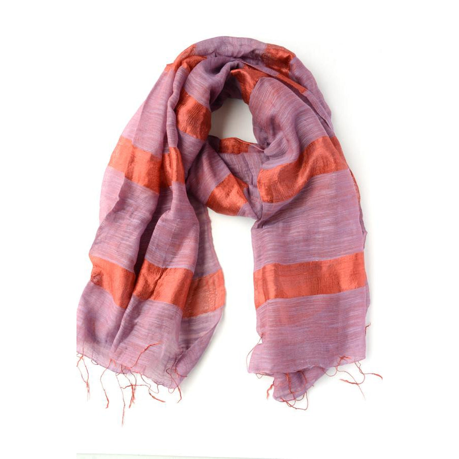 Fair Anita Mai Bold Striped Scarf - Purple + Crimson