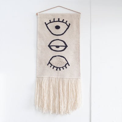 "CURA COLLECTION ORIGINAL ""OJO""- 100% WOOL HAND-WOVEN TAPESTRY"