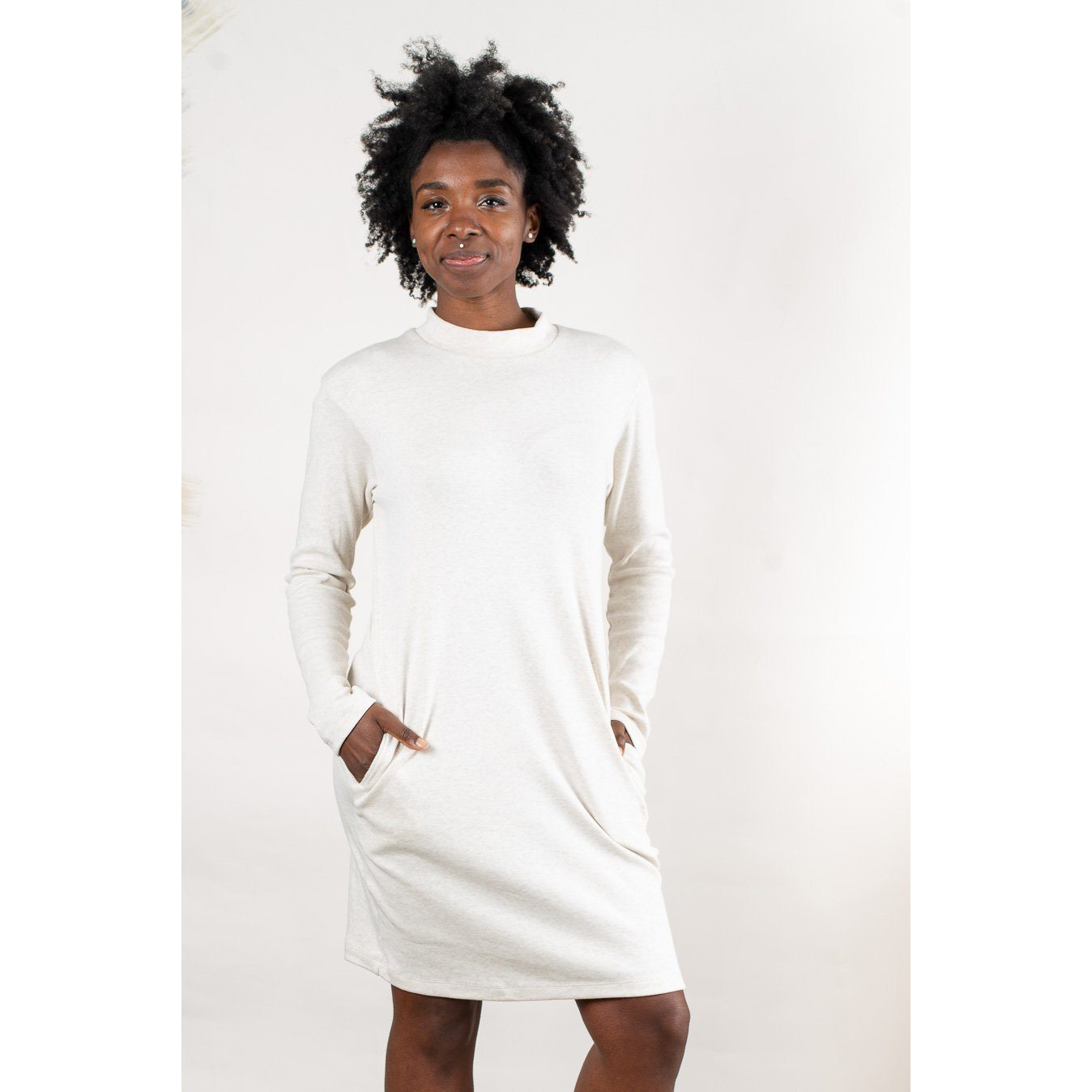 Tonle Mock Neck Long Sleeve Dress in Off White