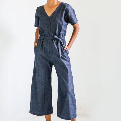 Denim jumpsuit in rinse wash by Tonle