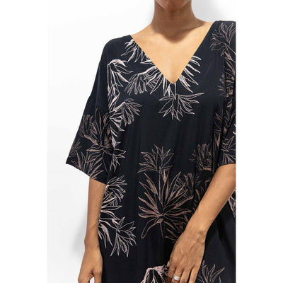 Tonle Veha Dress Black with Cactus print
