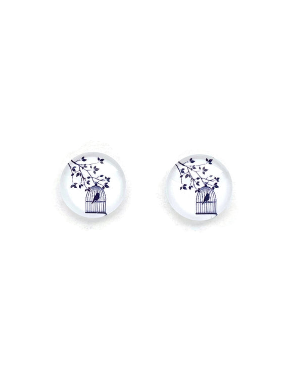 Bird Cage Stud Earrings
