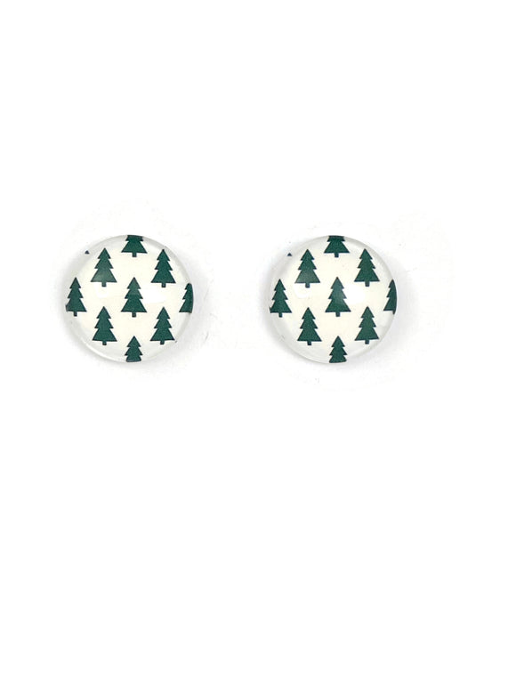 Green Christmas Trees Stud Earrings