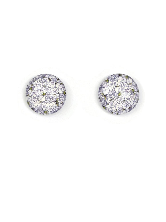 Outlined White Rosed Stud Earrings