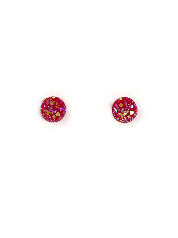 Red Sparkle Resin Studs Earrings