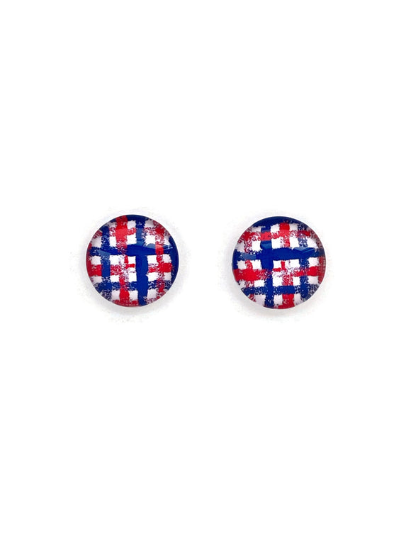 Blue And Red Checkered Stud Earrings